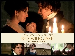 świeczki, Anne Hathaway, Becoming Jane, James McAvoy