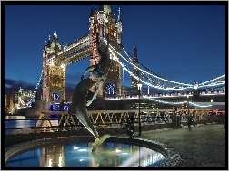 Delfin, Tower Bridge, Most, Anglia, Fontanna