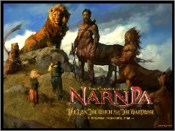 centaur, dzieci, lew, The Chronicles Of Narnia, napis