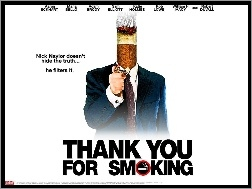 plakat, zapalniczka, Aaron Eckhart, papieros, Thank You For Smoking, garnitur