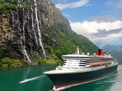 Wodospad, Statek Queen Mary 2, Fiord Sognefjord, Norwegia, Góry