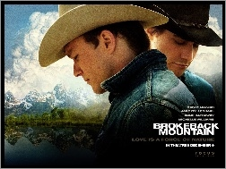 chmury, Heath Ledger, Jake Gyllenhaal, Brokeback Mountain, góry
