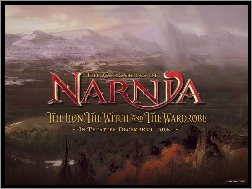 las, krajobraz, napis, The Chronicles Of Narnia, góry
