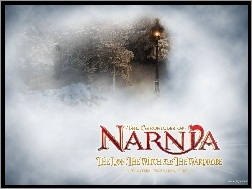 napis, las, zima, The Chronicles Of Narnia, latarnia