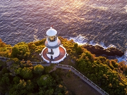 Sugarloaf Point Lighthouse, Z lotu ptaka, Australia, Drzewa, Latarnia morska, Morze