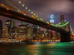 Miasta, Nocna, Bridge, Brooklyn, Panorama