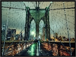 Nowy Jork, Brooklyn Bridge, Noc