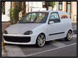 Pizza, Fiat Seicento, Białe, Tuning