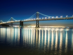 Noc, Most San Francisco-Oakland Bay Bridge, Kalifornia, Stany Zjednoczone, Rzeka