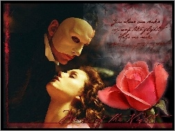 Phantom Of The Opera, maska, napis, Gerard Butler, róża, Emmy Rossum