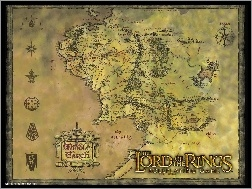 mapa, znaki, The Lord of The Rings, napis