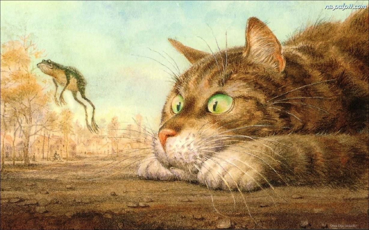 żaba Włodzimierz Rumiancev Reprodukcja Obraz Kot Na Pulpit