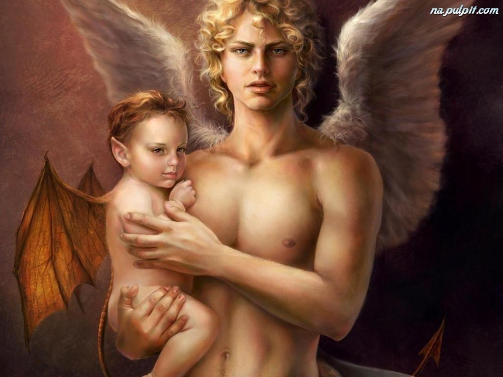 Dziecko Anioł Mężczyzna Blondyn Na Pulpit