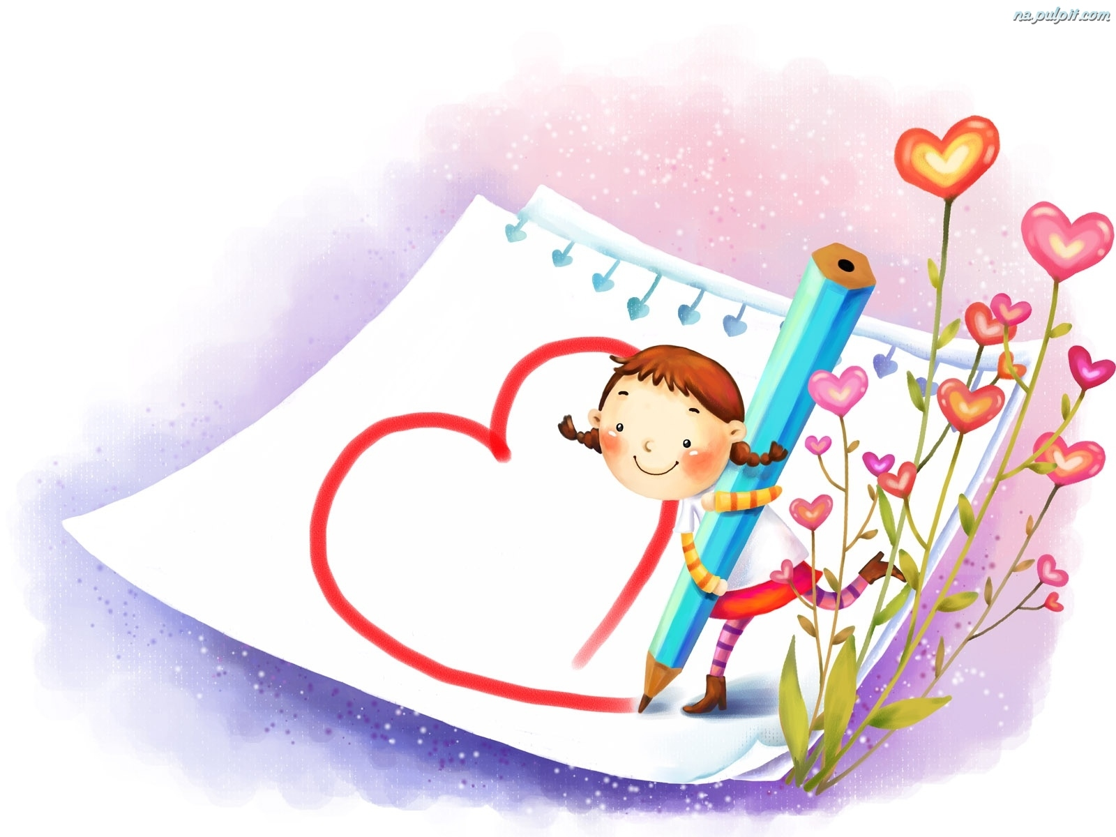Kwiatki, Serce, Rysunek, Kredka Na Pulpit