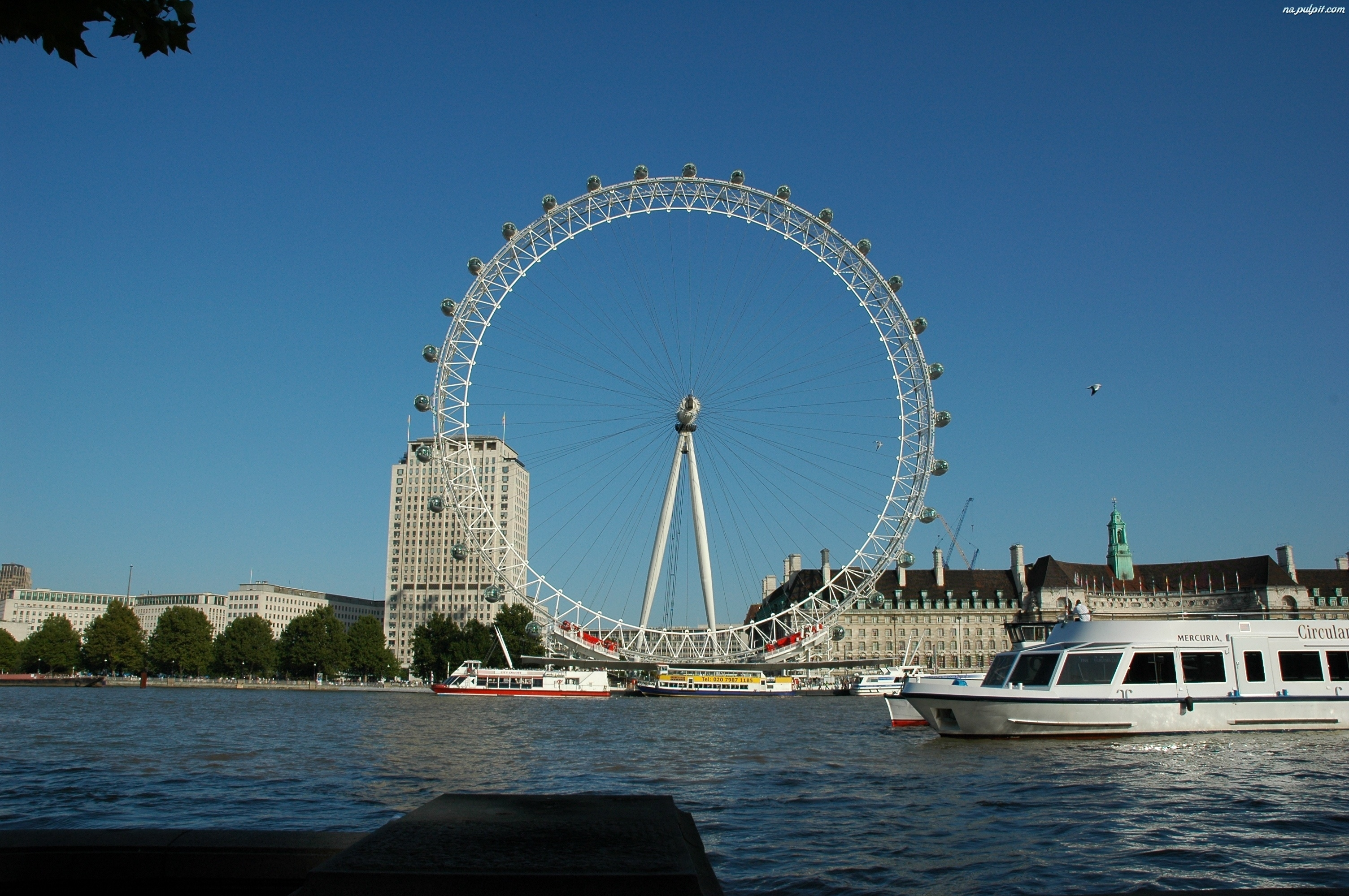 Londyn, Statek, Tamiza, Rzeka, London Eye