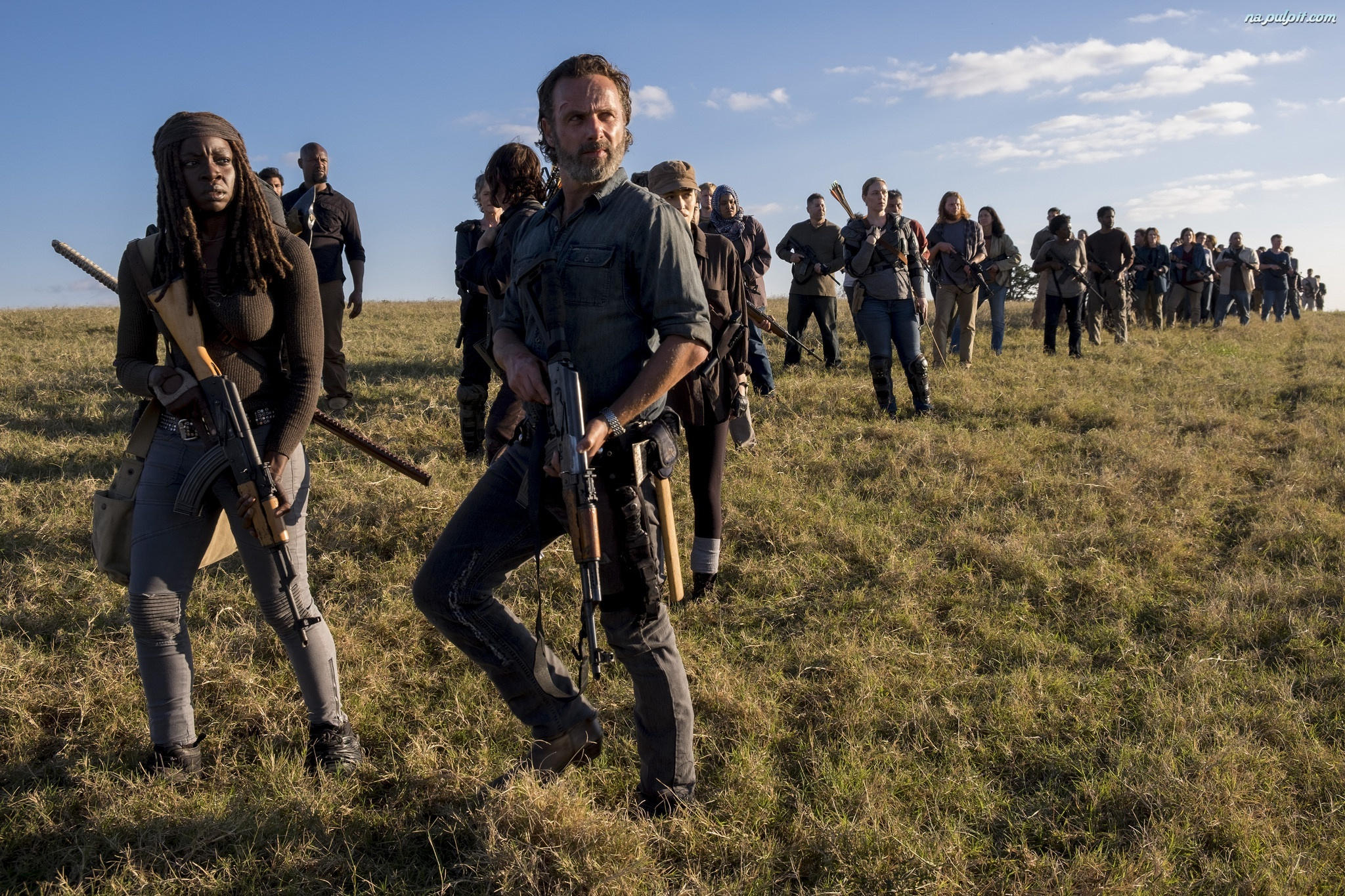 Michonne - Danai Gurira, Żywe trupy, The Walking Dead, Serial, Rick Grimes - Andrew Lincoln